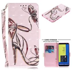 Butterfly High Heels 3D Painted Leather Wallet Phone Case for Samsung Galaxy J6 (2018) SM-J600F