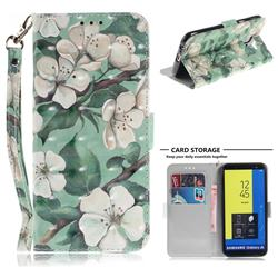 Watercolor Flower 3D Painted Leather Wallet Phone Case for Samsung Galaxy J6 (2018) SM-J600F