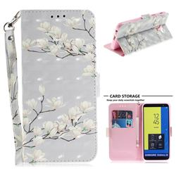Magnolia Flower 3D Painted Leather Wallet Phone Case for Samsung Galaxy J6 (2018) SM-J600F