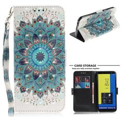 Peacock Mandala 3D Painted Leather Wallet Phone Case for Samsung Galaxy J6 (2018) SM-J600F