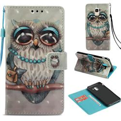 Sweet Gray Owl 3D Painted Leather Wallet Case for Samsung Galaxy J6 (2018) SM-J600F