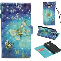 Gold Butterfly 3D Painted Leather Wallet Case for Samsung Galaxy J6 (2018) SM-J600F