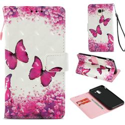 Rose Butterfly 3D Painted Leather Wallet Case for Samsung Galaxy J6 (2018) SM-J600F