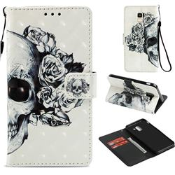 Skull Flower 3D Painted Leather Wallet Case for Samsung Galaxy J6 (2018) SM-J600F