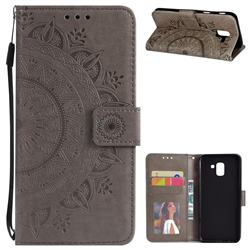 Intricate Embossing Datura Leather Wallet Case for Samsung Galaxy J6 (2018) SM-J600F - Gray