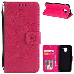 Intricate Embossing Datura Leather Wallet Case for Samsung Galaxy J6 (2018) SM-J600F - Rose Red