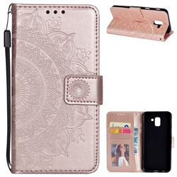 Intricate Embossing Datura Leather Wallet Case for Samsung Galaxy J6 (2018) SM-J600F - Rose Gold