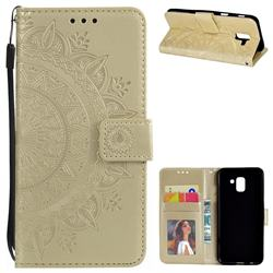 Intricate Embossing Datura Leather Wallet Case for Samsung Galaxy J6 (2018) SM-J600F - Golden