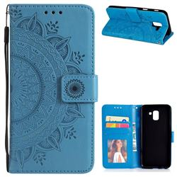 Intricate Embossing Datura Leather Wallet Case for Samsung Galaxy J6 (2018) SM-J600F - Blue