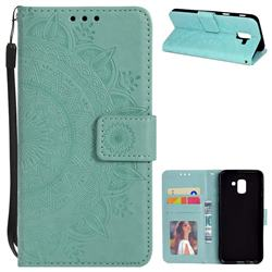 Intricate Embossing Datura Leather Wallet Case for Samsung Galaxy J6 (2018) SM-J600F - Mint Green