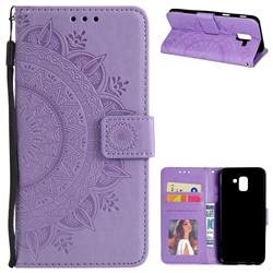 Intricate Embossing Datura Leather Wallet Case for Samsung Galaxy J6 (2018) SM-J600F - Purple
