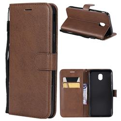 Retro Greek Classic Smooth PU Leather Wallet Phone Case for Samsung Galaxy J6 (2018) SM-J600F - Brown