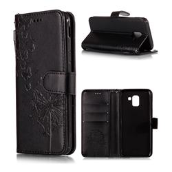 Intricate Embossing Dandelion Butterfly Leather Wallet Case for Samsung Galaxy J6 (2018) SM-J600F - Black