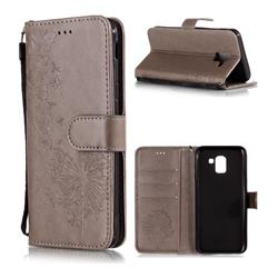 Intricate Embossing Dandelion Butterfly Leather Wallet Case for Samsung Galaxy J6 (2018) SM-J600F - Gray