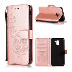 Intricate Embossing Dandelion Butterfly Leather Wallet Case for Samsung Galaxy J6 (2018) SM-J600F - Rose Gold