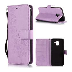 Intricate Embossing Dandelion Butterfly Leather Wallet Case for Samsung Galaxy J6 (2018) SM-J600F - Purple