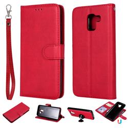 Retro Greek Detachable Magnetic PU Leather Wallet Phone Case for Samsung Galaxy J6 (2018) SM-J600F - Red