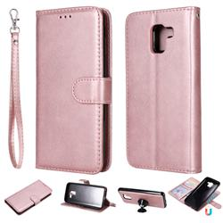 Retro Greek Detachable Magnetic PU Leather Wallet Phone Case for Samsung Galaxy J6 (2018) SM-J600F - Rose Gold