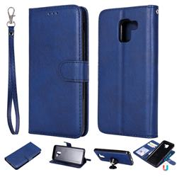 Retro Greek Detachable Magnetic PU Leather Wallet Phone Case for Samsung Galaxy J6 (2018) SM-J600F - Blue