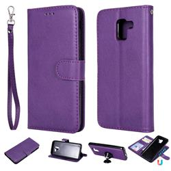 Retro Greek Detachable Magnetic PU Leather Wallet Phone Case for Samsung Galaxy J6 (2018) SM-J600F - Purple