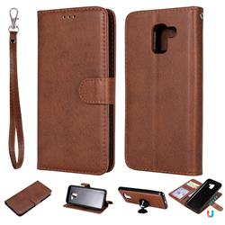 Retro Greek Detachable Magnetic PU Leather Wallet Phone Case for Samsung Galaxy J6 (2018) SM-J600F - Brown