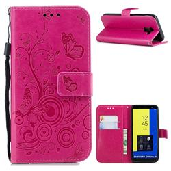 Intricate Embossing Butterfly Circle Leather Wallet Case for Samsung Galaxy J6 (2018) SM-J600F - Red