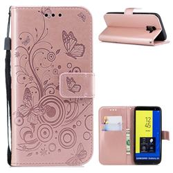 Intricate Embossing Butterfly Circle Leather Wallet Case for Samsung Galaxy J6 (2018) SM-J600F - Rose Gold