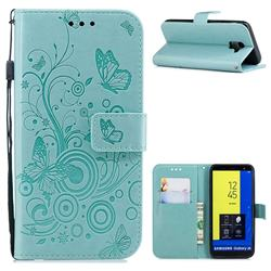 Intricate Embossing Butterfly Circle Leather Wallet Case for Samsung Galaxy J6 (2018) SM-J600F - Cyan
