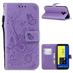 Intricate Embossing Butterfly Circle Leather Wallet Case for Samsung Galaxy J6 (2018) SM-J600F - Purple