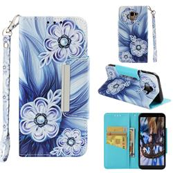 Button Flower Big Metal Buckle PU Leather Wallet Phone Case for Samsung Galaxy J6 (2018) SM-J600F