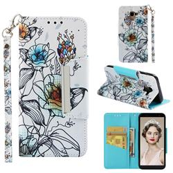 Fotus Flower Big Metal Buckle PU Leather Wallet Phone Case for Samsung Galaxy J6 (2018) SM-J600F