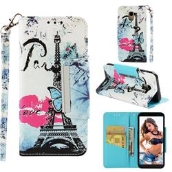Lip Tower Big Metal Buckle PU Leather Wallet Phone Case for Samsung Galaxy J6 (2018) SM-J600F