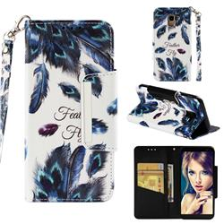 Peacock Feather Big Metal Buckle PU Leather Wallet Phone Case for Samsung Galaxy J6 (2018) SM-J600F