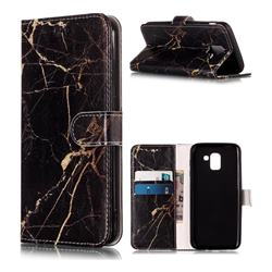 Black Gold Marble PU Leather Wallet Case for Samsung Galaxy J6 (2018) SM-J600F