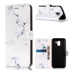 Soft White Marble PU Leather Wallet Case for Samsung Galaxy J6 (2018) SM-J600F