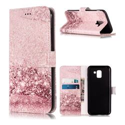 Glittering Rose Gold PU Leather Wallet Case for Samsung Galaxy J6 (2018) SM-J600F