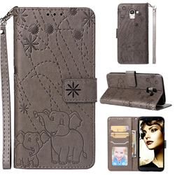 Embossing Fireworks Elephant Leather Wallet Case for Samsung Galaxy J6 (2018) SM-J600F - Gray