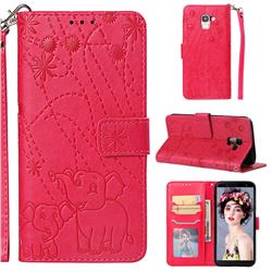 Embossing Fireworks Elephant Leather Wallet Case for Samsung Galaxy J6 (2018) SM-J600F - Red