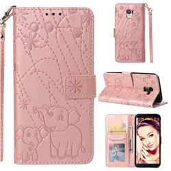 Embossing Fireworks Elephant Leather Wallet Case for Samsung Galaxy J6 (2018) SM-J600F - Rose Gold