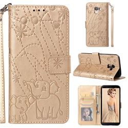 Embossing Fireworks Elephant Leather Wallet Case for Samsung Galaxy J6 (2018) SM-J600F - Golden