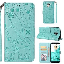 Embossing Fireworks Elephant Leather Wallet Case for Samsung Galaxy J6 (2018) SM-J600F - Green
