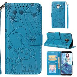 Embossing Fireworks Elephant Leather Wallet Case for Samsung Galaxy J6 (2018) SM-J600F - Blue