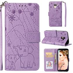 Embossing Fireworks Elephant Leather Wallet Case for Samsung Galaxy J6 (2018) SM-J600F - Purple