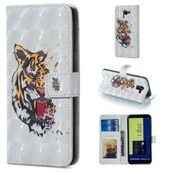 Toothed Tiger 3D Painted Leather Phone Wallet Case for Samsung Galaxy J6 (2018) SM-J600F