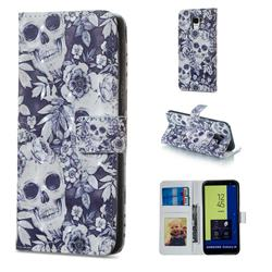 Skull Flower 3D Painted Leather Phone Wallet Case for Samsung Galaxy J6 (2018) SM-J600F