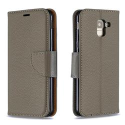 Classic Luxury Litchi Leather Phone Wallet Case for Samsung Galaxy J6 (2018) SM-J600F - Gray