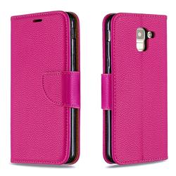Classic Luxury Litchi Leather Phone Wallet Case for Samsung Galaxy J6 (2018) SM-J600F - Rose