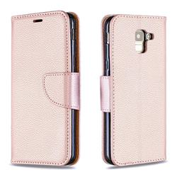 Classic Luxury Litchi Leather Phone Wallet Case for Samsung Galaxy J6 (2018) SM-J600F - Golden