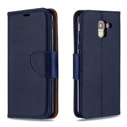 Classic Luxury Litchi Leather Phone Wallet Case for Samsung Galaxy J6 (2018) SM-J600F - Blue