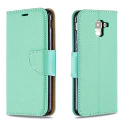 Classic Luxury Litchi Leather Phone Wallet Case for Samsung Galaxy J6 (2018) SM-J600F - Green